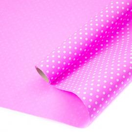 "Kraft paper 70 cm x 8 m ""Peas"" on color (Pink)"