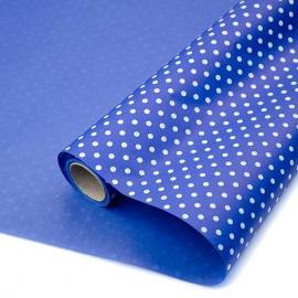 """Kraft paper 70 cm x 8 m """"Peas"""" on color (Blue)"""