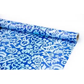 """Папір крейдований 70см х 10ярд """"Орнамент на синьому"""""""