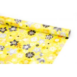 """Бумага мелованная 70см х 10ярд """"Полевые цветы на желтом"""""""