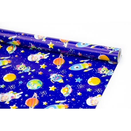 """Папір крейдований 70см х 10ярд """"Хлопчик у космосі"""""""