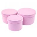 Набір тубусів оксамитових низьких 3 шт рожеві