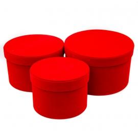 Набор тубусов бархатных низких 3 шт красные
