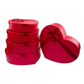 Набір коробок для квітів та подарунків з 5 шт 0230-4 Червоне Серце