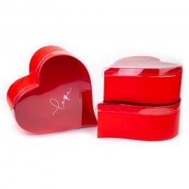 """Набор коробок """"Сердце"""" с прозрачной крышкой с 3 шт 5734 в ассортименте"""