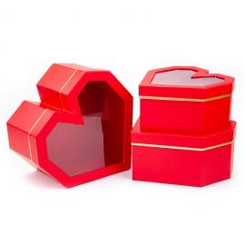 """Набор коробок """"Сердце"""" с прозрачной крышкой с 3 шт 5767 в ассортименте"""