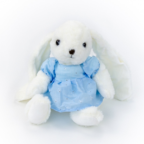Polyester toy Rabbit Darcy 0220-6 in a blue dress