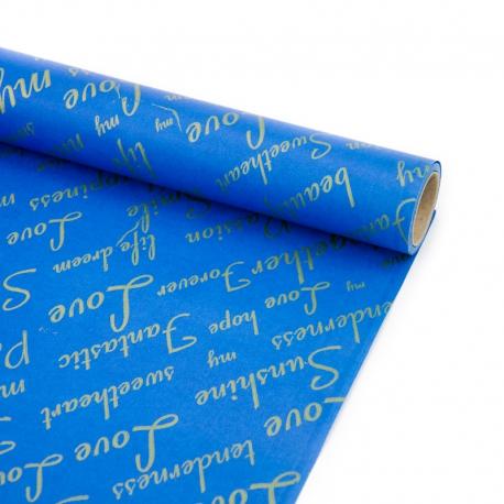 """Папір 70см х 8м серія """"Fantastic"""" золотим на синьому"""