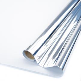 Плівка матова двостороння Метал 60см х 8м Срібло + Білий