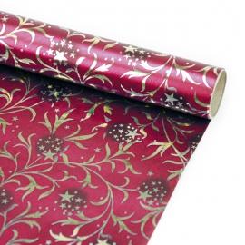 """Папір крейдований новорічний 70см х 150см """"Візерунок на бордовому"""""""