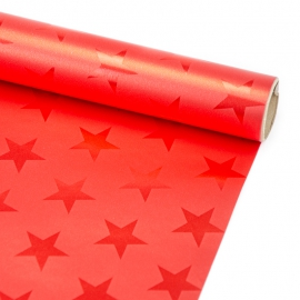 """Coated paper New Year's 70 cm x 150 cm """"Chrome star on red"""""""