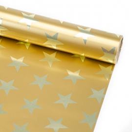 """Папір крейдований новорічний 70см х 150см """"Хром зірка на золотому"""""""