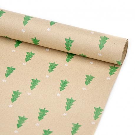 """Папір новорічний 70см х 200см """"Зелені ялинки на крафті"""""""