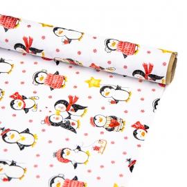 """Папір крейдований новорічний 70см х 200см """"Пінгвіни"""""""