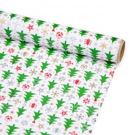"""Папір крейдований новорічний 70см х 200см """"Ялинки на білому"""""""