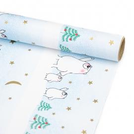 """Папір крейдований новорічний 70см х 200см """"Білі ведмеді на блакитному"""""""