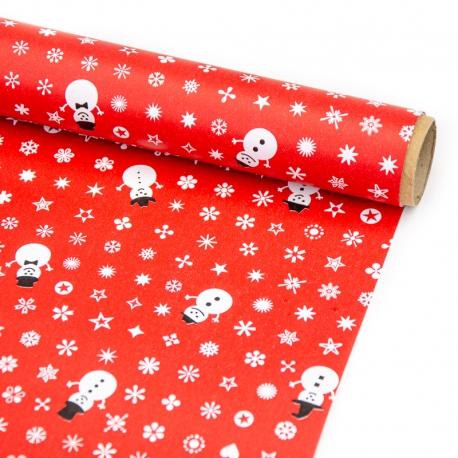 """Папір крейдований новорічний 70см х 200см """"Сніговик зі сніжинками на червоному"""""""
