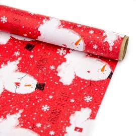 """Папір крейдований новорічний 70см х 200см """"Сніговик на червоному"""""""