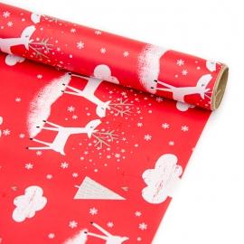 """Папір крейдований новорічний 70см х 200см """"Олень на червоному"""""""