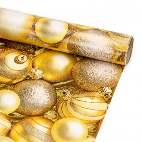 """Папір крейдований новорічний 70см х 200см """"Золоті новорічні кульки"""""""