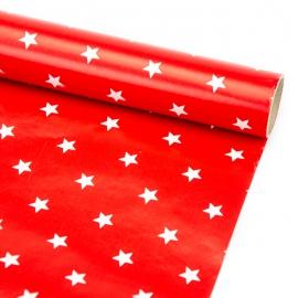 """Папір крейдований новорічний 70см х 200см """"Зірки на червоному"""""""