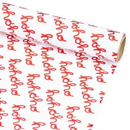 """Папір крейдований новорічний 70см х 200см """"Ho-ho-ho червоним на білому"""""""