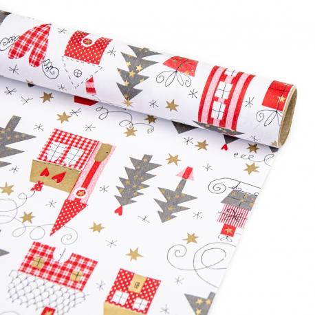 """Папір крейдований новорічний 70см х 200см """"Ялинки, будинки та подарунки"""""""