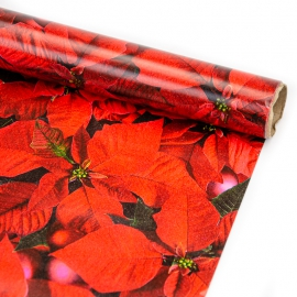 """Paper coated New Year's 70 cm x 200 cm """"Poinsettia"""""""