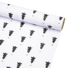 """Coated paper New Year's 70 cm x 200 cm """"Black Christmas trees on white"""""""