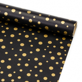 """Coated paper New Year's 70 cm x 200 cm """"Golden bubbles on black"""""""