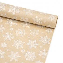 """Папір новорічний 70см х 200см """"Сніжинки на крафті"""""""