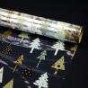 """Пленка прозрачная с рисунком 70см х 250см """"Мятные и золотые елки"""""""