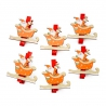 """Wooden clothespin for a decor """"Santa on a sleigh"""" in a pack of 6 pieces."""