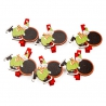 """Wooden clothespin for a decor """"the Snowman on skates"""" in a pack of 6 pieces."""